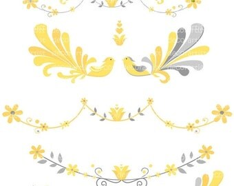 ON SALE Birds clipart, Peacock clipart yellow and grey border clipart, elegant peacock 1, invites , flowers border , yellow and grey clip