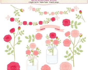 ON SALE Flowers clipart, mason jars clipart,flowers roses and mason jar clipart, pink flowers clipart, botanical, pink label, INSTANT Downl