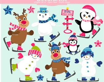 Winter Clip Art // Rudolph clip art. Reindeer Clip Art, Penquin Clip Art, Digital Clipart, Snowman Clip Art, ON SALE