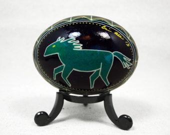Pysanky, Ukrainian, Blue Geometric, Modern Blue, Modern, Yellow Geometric, Easter Egg, Horse, Southwest, Ukrainian Pysanky - A15D