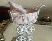 Antique miniature wire doll carriage