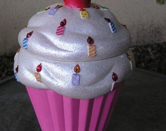 Happy Birthday Bling Cupcake Jar