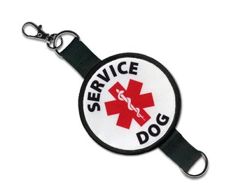 SERVICE DOG Medical Alert Symbol 2 in 1 Double Sided Patch Clip Leash Wrap