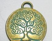 2 Tree of life pendants antique bronze meditation jewelry yoga charms 28mm x 24mm