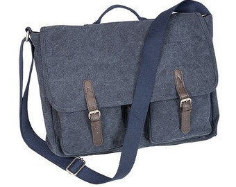 Monogrammed Navy Brushed Canvas Messenger Bags;Perfect for Graduation Gifts