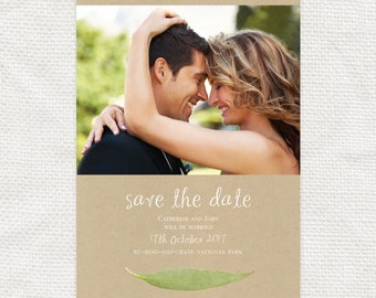photo save the date wedding announcement - printable file - digital PDF australian garden forest outdoor event leaves tree - gum leaf design