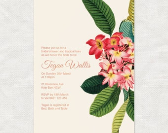 plumeria luau bridal shower invitation - printable - frangipani tropical floral wedding invitation Hawaiian flowers beach travel botanical