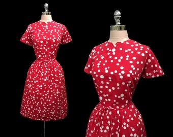 Vintage 1950s Red White Polka Dots Cotton Full Skirt Dress NOS w/tags XL