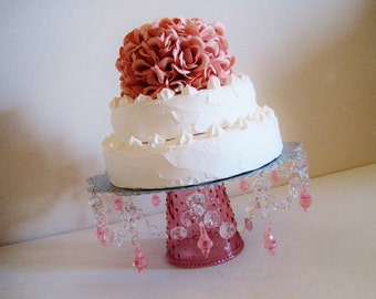 """Cake Stand 12"""" in Galvanized N Clear with Rose Pink Glass Base MADE TO ORDER"""