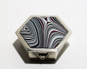 Antique, Mexican, Sterling Silver, Hinged Pill Box ~ Up-Cycled with a Beautiful, Motor-city, Fordite Cabochon