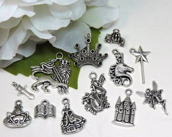 12 FAIRY TALE Theme Charm Set, Assorted Charms in Antique Silver, Fantasy Collection, Castle Crown Unicorn Dragon Fairy Sword Princess
