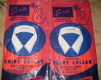 "Pair of Vintage ""So-rite"" Attachable Shirt Collars in Original Packaging"