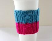 Organic Cotton Coffee Cup Sleeve, Coffee Mug Cosy, Cup Cozy, Coffee Mug Sleeve, Knit Cup Cozy, Coffee Cup Cosy - HOT PINK & BLUE