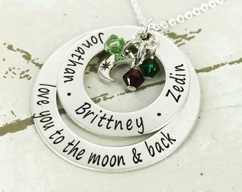 "Personalized ""love to the moon & back "" loop necklace with up to 5 crystals - Mother Necklace - Mother Jewelry - Birthstone Necklace"
