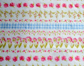 Border Fabric - Pink Flowers and Blue Gingham Stripe - 44 x 34
