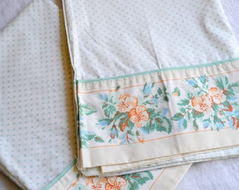 Vintage Pillowcases - Laura Ashley Serena Mint and Peach Floral - Standard Size Pair NOS