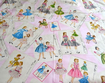 Vintage Fabric - McCalls Girls Dress Patterns Print on Pink and White - 44 x 47