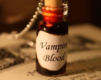 ON SALE Glass Vial Necklace - Vampire Blood - Halloween Jewelry