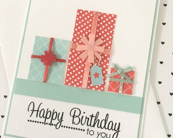 Happy Birthday to you with row of presents - handmade greeting card