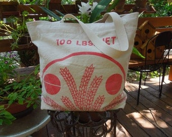 Vintage cotton flour sack tote - Old fashioned flour sack - Flour bag - Repurposed flour sack - Market tote - Recycled wheat bag