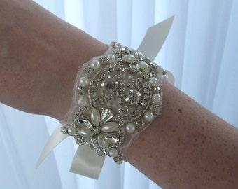 Rhinestone Pearl Bridal Cuff,Wedding Accessories, Bracelet,Crystal Bridal Bracelet,#B3