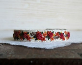 Fall Bouquet Cuff Bracelet - Hand Embroidered Fabric Cuff Bracelet