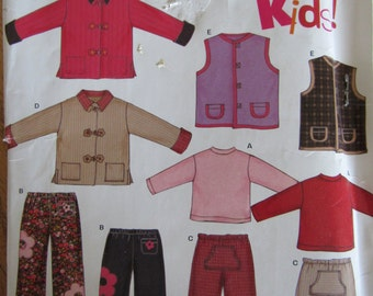 New Look 6314/ Uncut Sewing Pattern/Children's Clothing/Size 3-8/Jacket/Vest/Tshirt Top/Pants/Boys/Girls