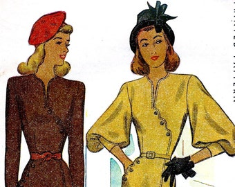 UNCUT * 1940's McCall Pattern 6556  *  Classy  Ladies' Day or Date Night Dress w/ Asymmetrical Hip Detail  * Size 20 *  Bust 38