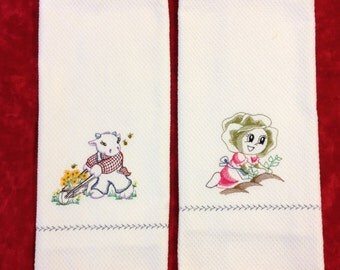 "Cute Kitchen towel ""Gardening Animal"" cute embroidery on a pair of white kitchen towels"