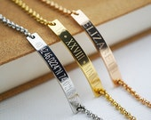 Stainless Steel Skinny bar Bracelet name bar bracelet Personalized bracelet Bridesmaid Gifts Christmas gift for her name monogram jewelry