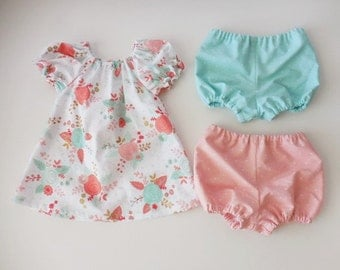 Girls and babies peasant dress white with roses with TWO pairs of matching bloomers peach and aqua blue