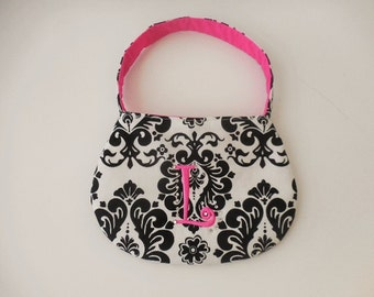 Toddler and little girl purse black and white damask and hot pink with  embroidery initial