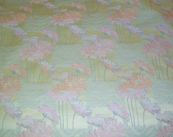 Vintage Jaquard Upholstery Fabric - Pink Flowers On Yellow - 8 Yds