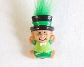 Vintage St Patrick's Day Troll Pin Leprechaun Green Troll Doll
