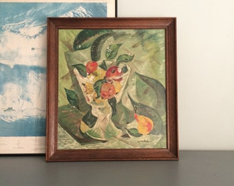 Original Mid Century Modern Acrylic Painting Abstract Still Life MCM Art