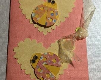 Ladybug Handmade Blank Greeting Cards - Set of 5
