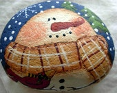 Snowman with Red Cardinal and Pine Trees Garden Stone  - Handpainted|Home Decor|Paperweight|Garden