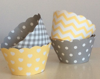 Gray and Yellow Cupcake Wrappers  Showers & Weddings