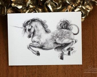 Jump - ACEO Digital print of unicorn 2.5in x 3.5in - horse fantasy equine equestrian miniature art