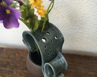 Ceramic Wild Flower Vase in Winter Blue and Black Mountain