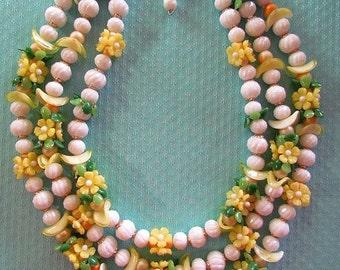 Vintage Hong Kong Three Strand Plastic Flower Necklace