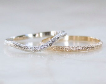 Vintage Inspired Swirling Acanthus Sterling Silver or Solid Gold Straight or Curved Band Wedding, Promise, Stacking Ring Eco Friendly