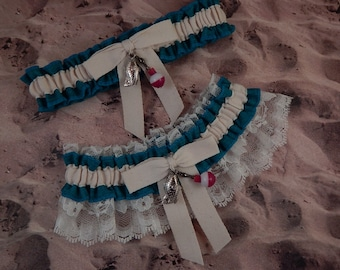 Fishing Teal Turquoise Linen Look Ivory Twill Ivory Lace Fish Bobber Charm Wedding Bridal Garter Toss Set