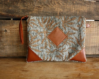 Chenille Clutch with leather trim Credit card slots  --Ready to ship--