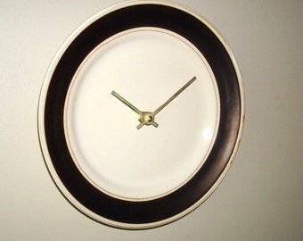 NEW! Bronze and Tan Wall Clock 9 Inches, Stoneware Plate Clock, Kitchen Clock, Kitchen Decor, Unique Wall Clock, Plate Wall Clock - 2097