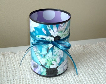 Teal and Purple Desk Accessories - Pencil Holder - Makeup Brush Holder - Pencil Cup - Desk Organizer - Bathroom Decor - 708