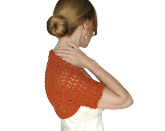 Lace Wedding Shrug Mia Bridal Bolero Cashmere Merino Nectarine Orange Mesh Hand Knit Jacked Knitted Cover Up Short Sleeves Size XS S M L