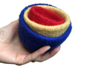 Felt Nesting Bowls Home Décor Felted Set Of Three Primary Color Knitted Felted Wool Desk Organizer Storage Hostess Gift