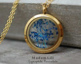 Gypsophila Paniculata (baby's breath) Medallion Necklace