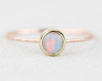 Natural AAA Opal Delicate 14k Ring - Solid 14k Gold Simple Stack Ring with a Genuine Fiery Australian White Opal - October Birthstone